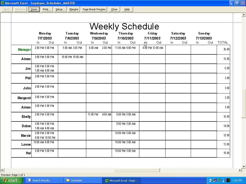 Excel Work Schedule Template