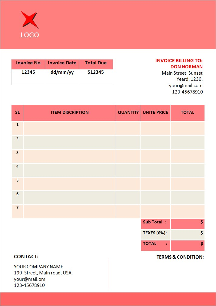 invoice templates for microsoft word spreadsheet templates