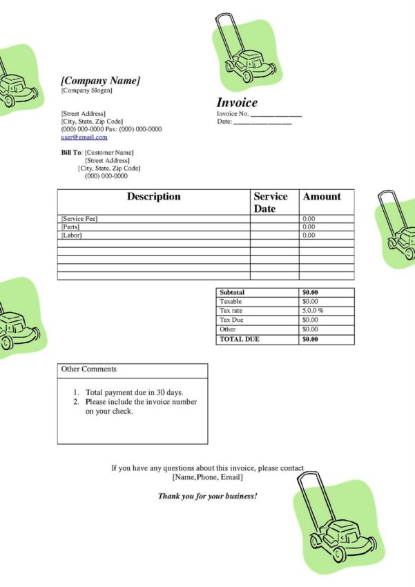 Spreadsheet Template Handyman Invoice Monthly Invoice