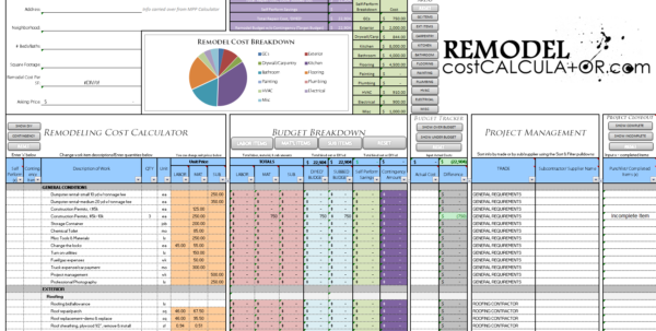 Home Improvement Spreadsheet