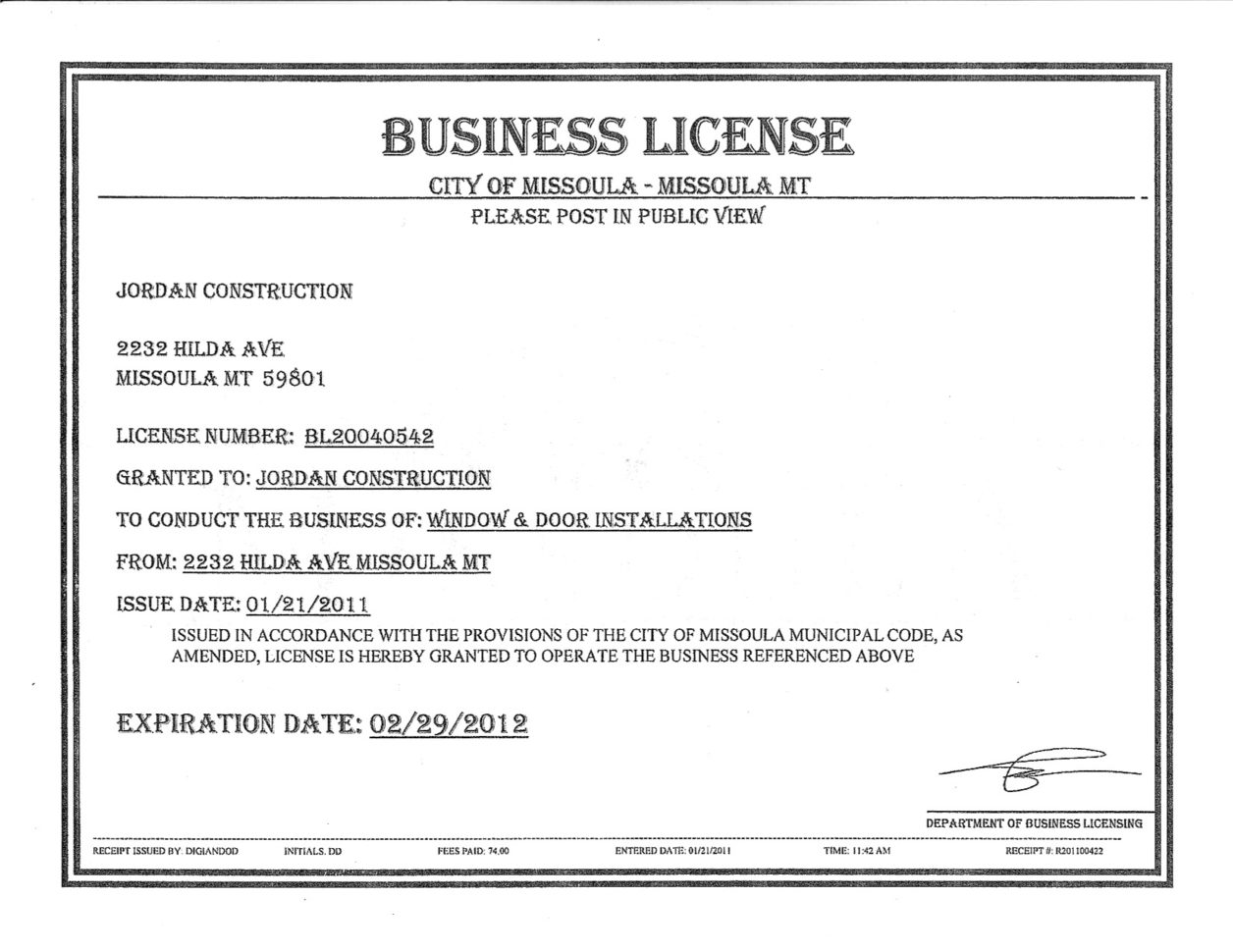 Business License Samples Spreadsheet Templates For Busines