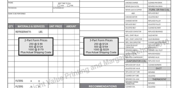 Hvac Service Invoice Template HVAC Invoice Template Spreadsheet Templates for Business