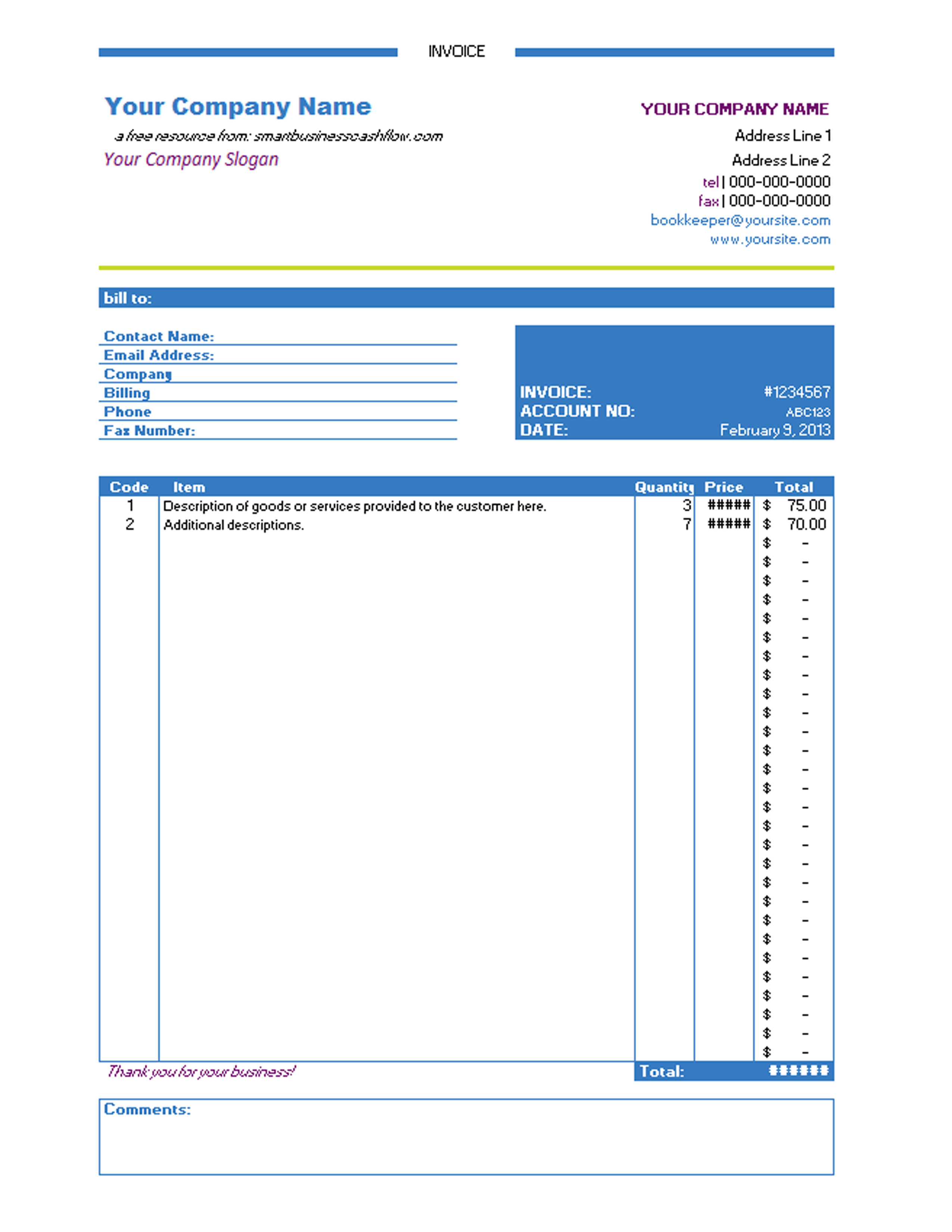 Invoice Template Excel 2010