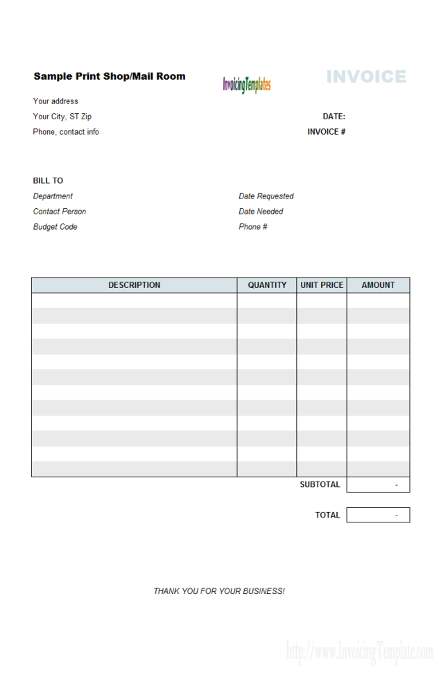 Invoice Template Microsoft Excel