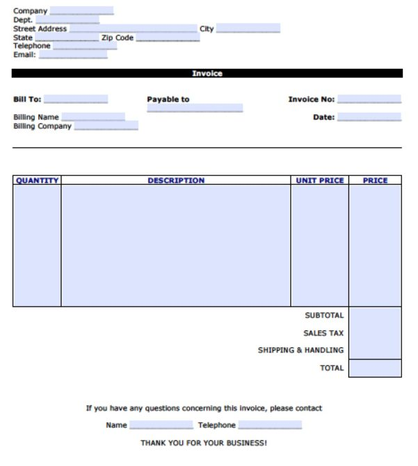 Invoice Template Microsoft Word 2003