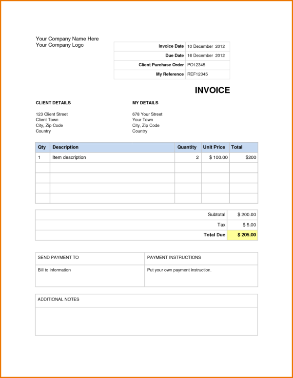 Invoice Template Microsoft Word 2007