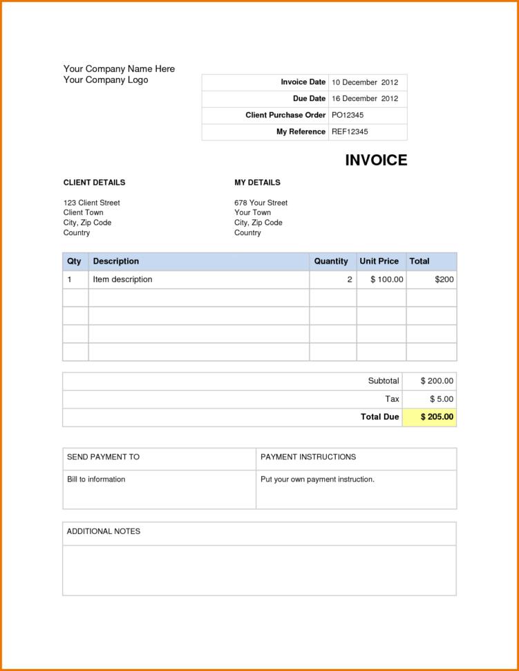 Invoice Template Microsoft Word 2007