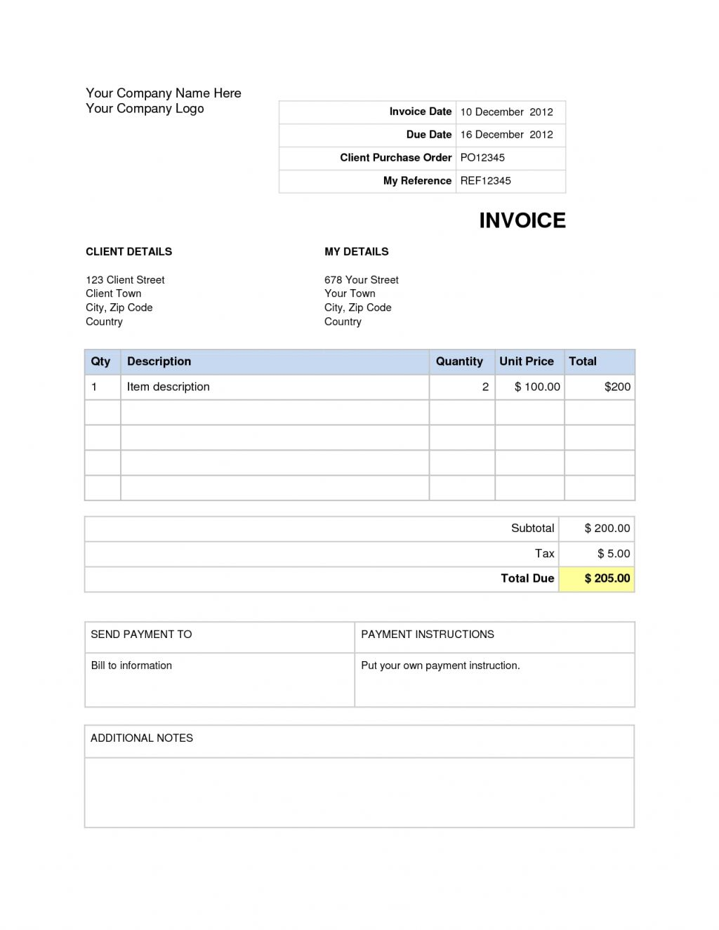 Invoice Template Word Mac