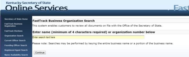 Kentucky Corporation Search