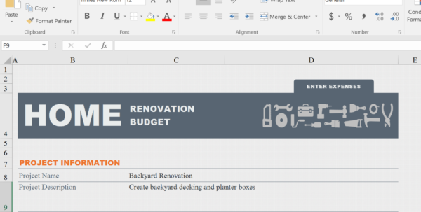 Kitchen Renovation Budget Template Home Renovation Budget Spreadsheet Template 1, Budget Spreadsheet, Spreadsheet Templates for Business