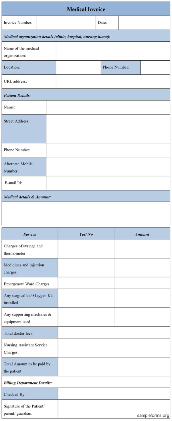 Medical Invoice Template Microsoft
