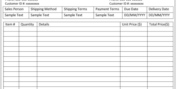 Microsoft Office 2003 Invoice Template