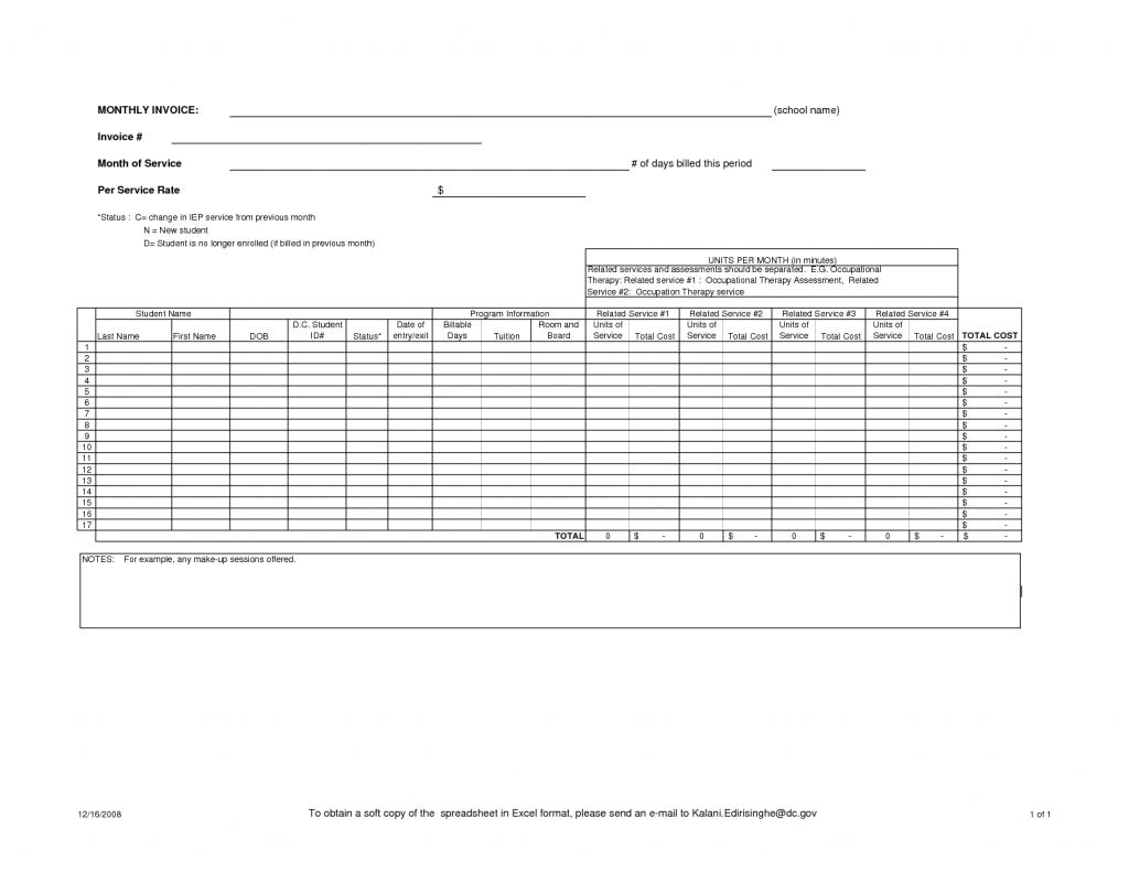 Monthly Invoice Template Excel