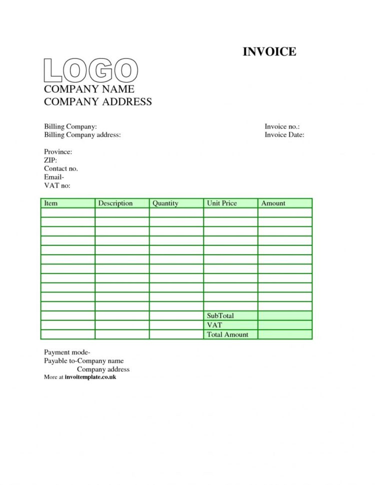 Office Invoice Template Excel
