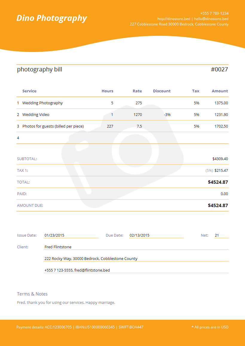 photography invoice template spreadsheet templates for busines free photography invoice template. Black Bedroom Furniture Sets. Home Design Ideas