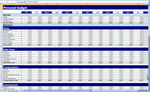 Printable Monthly Budget Template