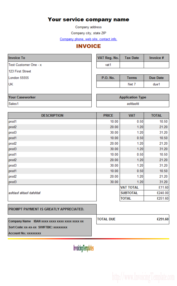 Professional Services Invoice Template