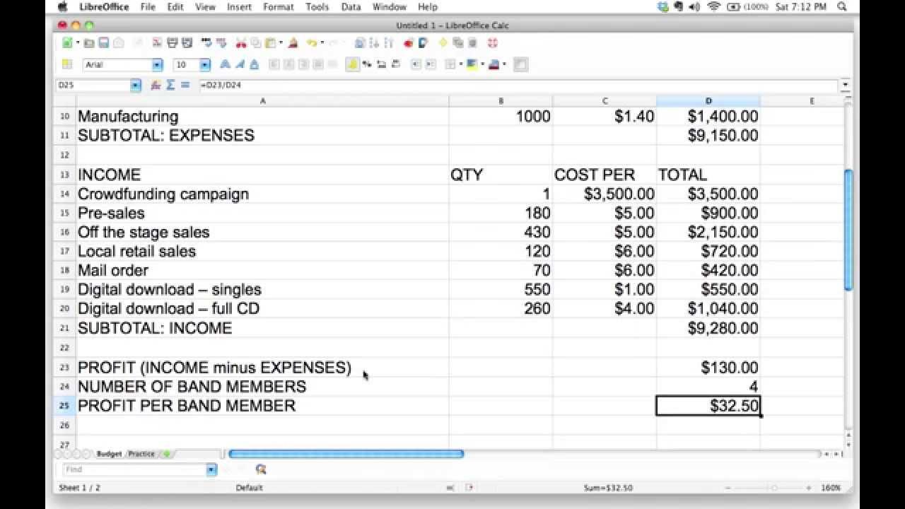 Profit Spreadsheet Example