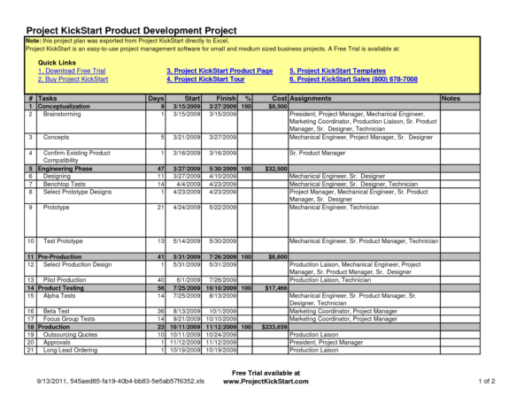 Project Management Schedule Template
