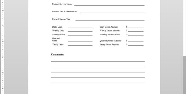 Sales Forecast Sheet Template