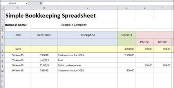 Simple Bookkeeping Spreadsheet Template Free