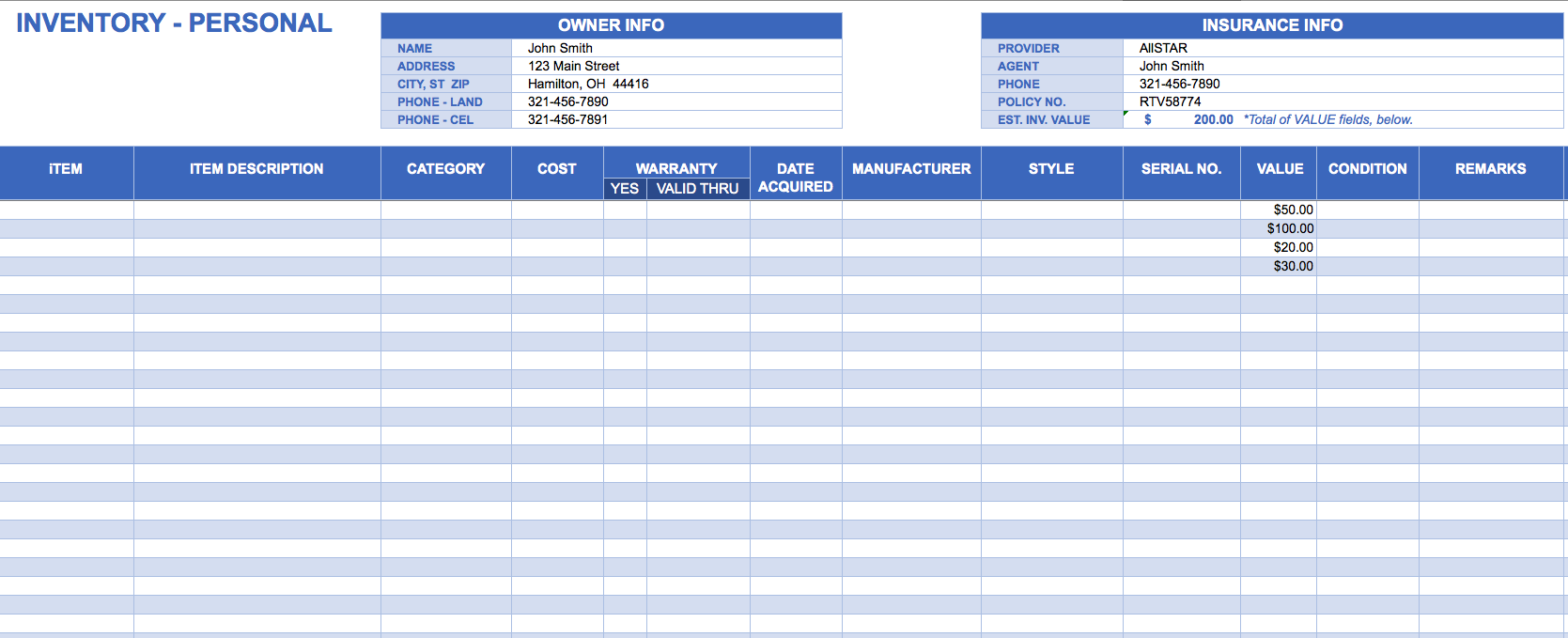 Small Business Inventory Spreadsheet Template 1