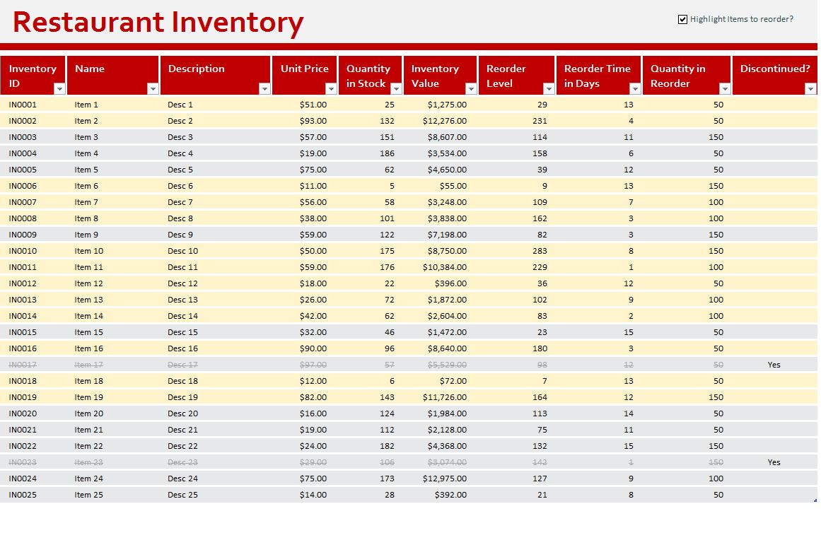 Small Business Inventory Spreadsheet Template