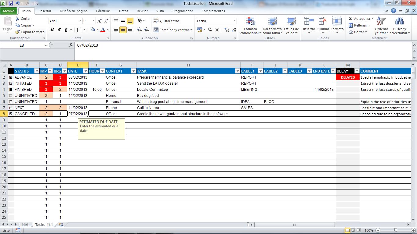 Task Spreadsheet Template Spreadsheet Templates for ...