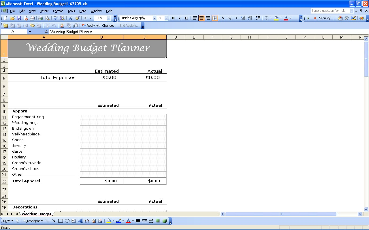 Wedding Budget Spreadsheet