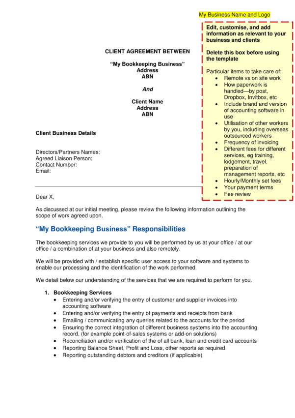 10  Bookkeeper Confidentiality Agreement Examples   Doc, Pdf With Bookkeeping Contract Template