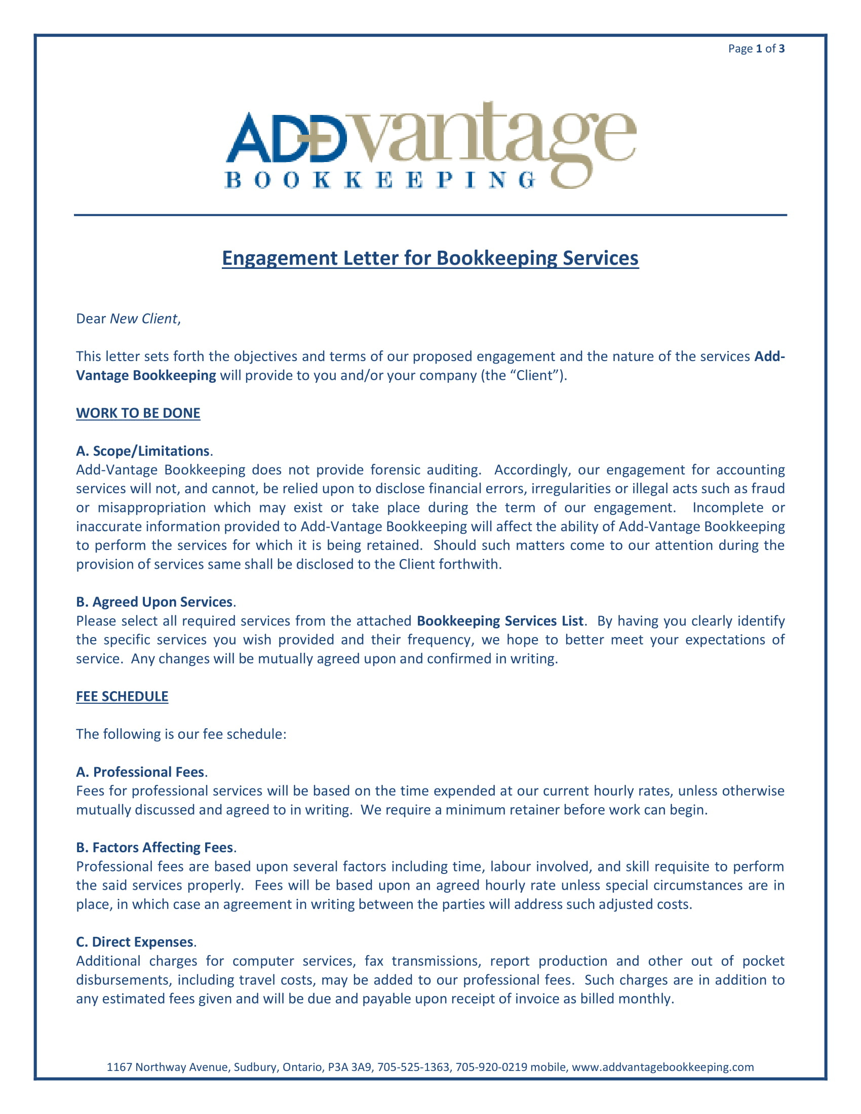 10  Bookkeeper Confidentiality Agreement Examples   Doc, Pdf With Bookkeeping Engagement Letter Example