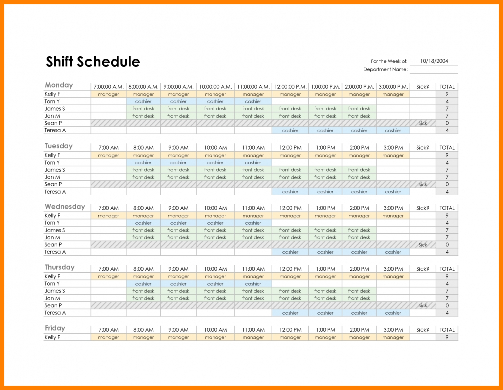 10  Excel Template For Scheduling Employees | Gospel Connoisseur Throughout Monthly Employee Schedule Template Excel