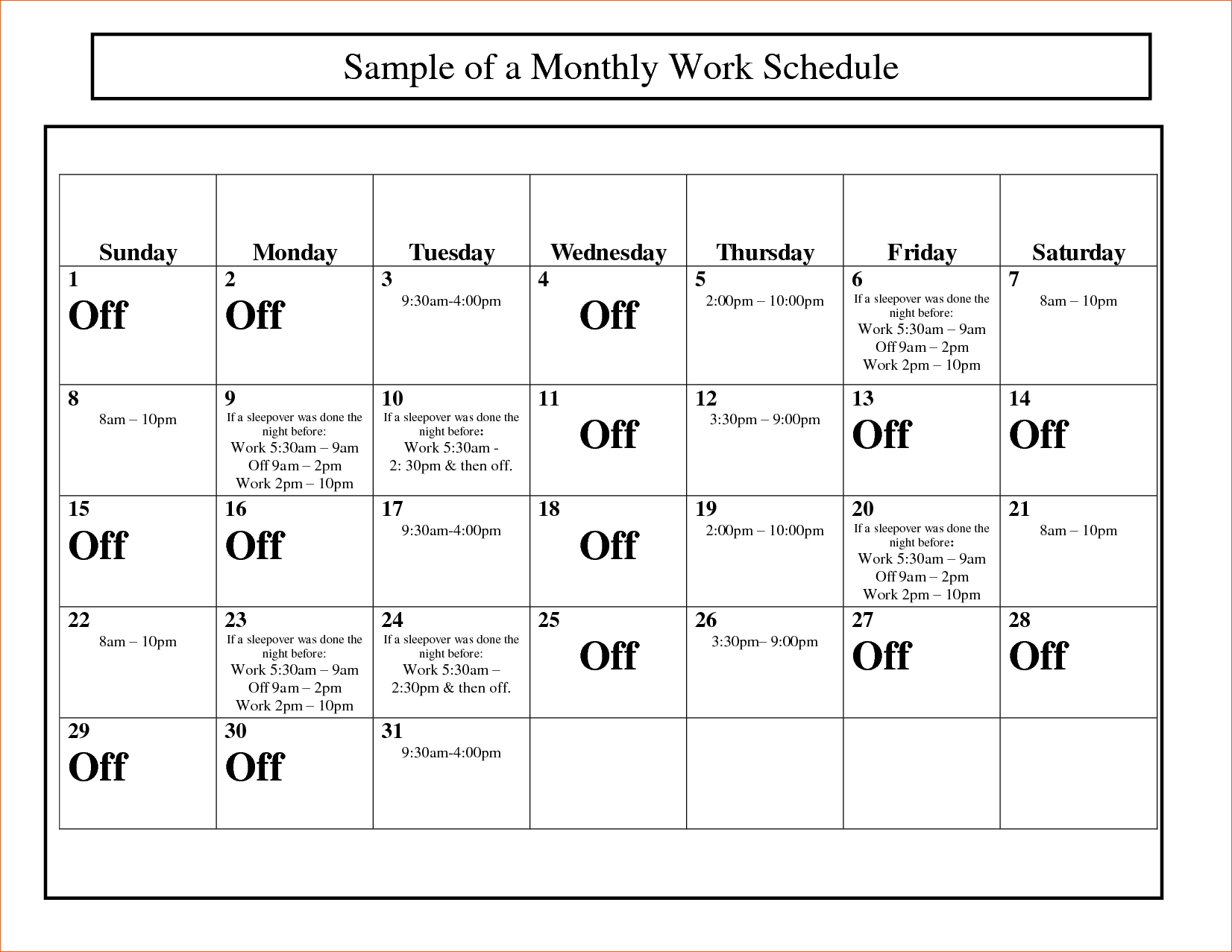 10  Monthly Work Schedule Template | Memo Formats Throughout Monthly Staff Schedule Template