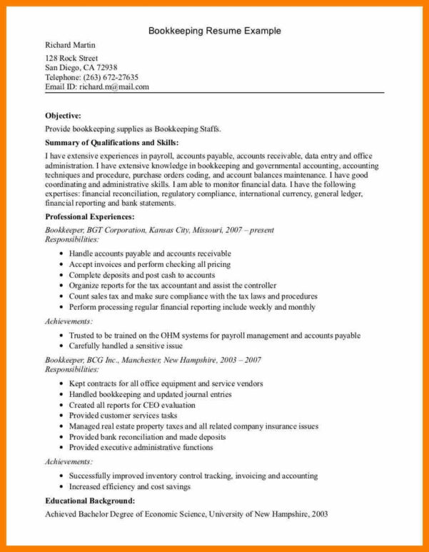 100 Book Keeper Resume Example Of Resume Bookkeeper Cover For For Freelance Bookkeeping Contract Template