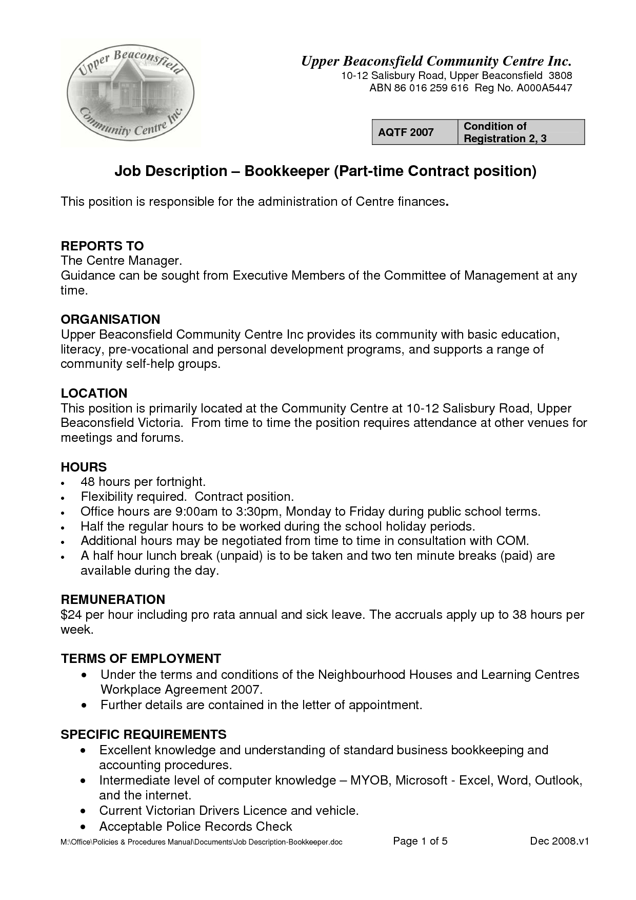 11 Bookkeeper Job Descriptions Samplebusinessresume With Bookkeeping Inside Bookkeeping Agreement Template