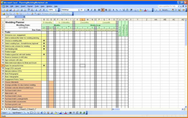 11  Wedding Planner Spreadsheet | Shawn Weatherly With Wedding Planning Spreadsheet Template