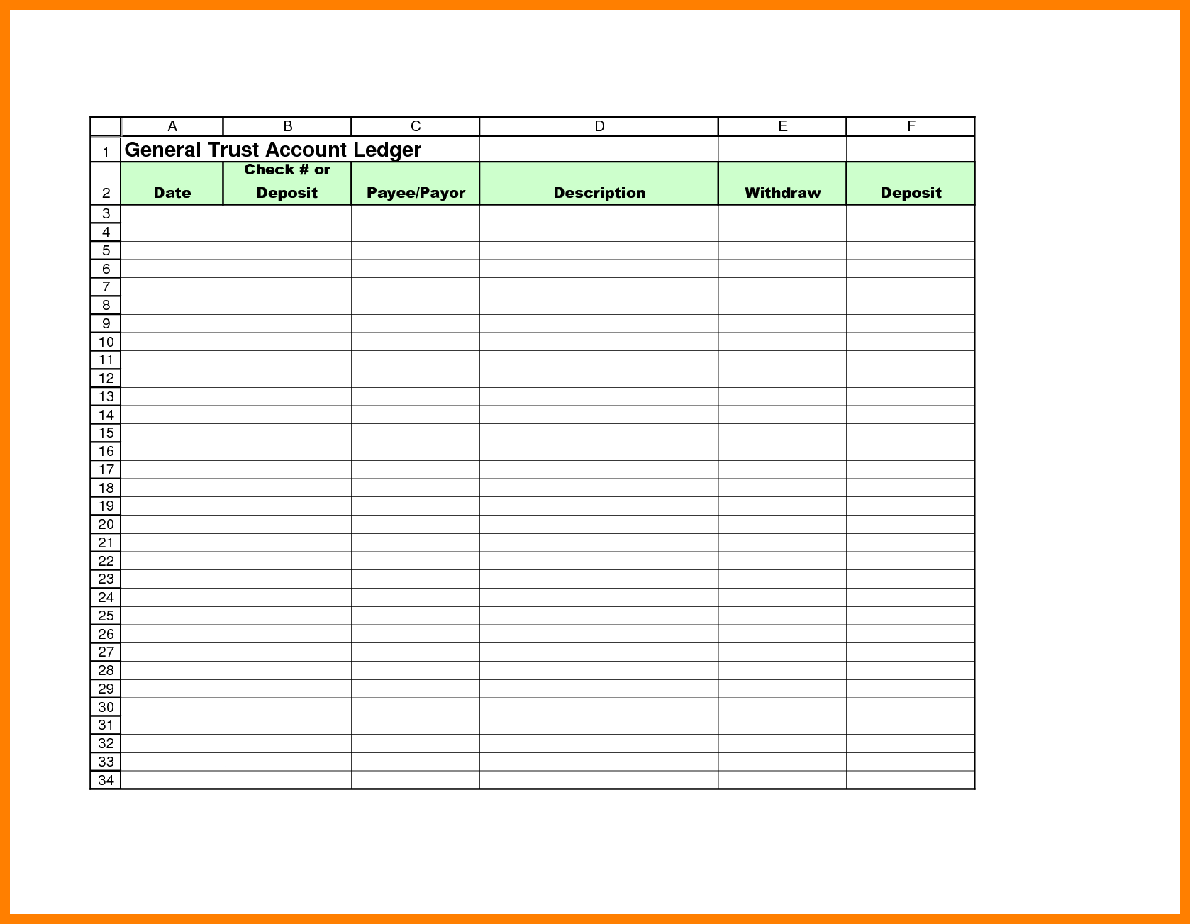 12  Free Printable General Ledger Template | St Columbaretreat House For Free General Ledger Template