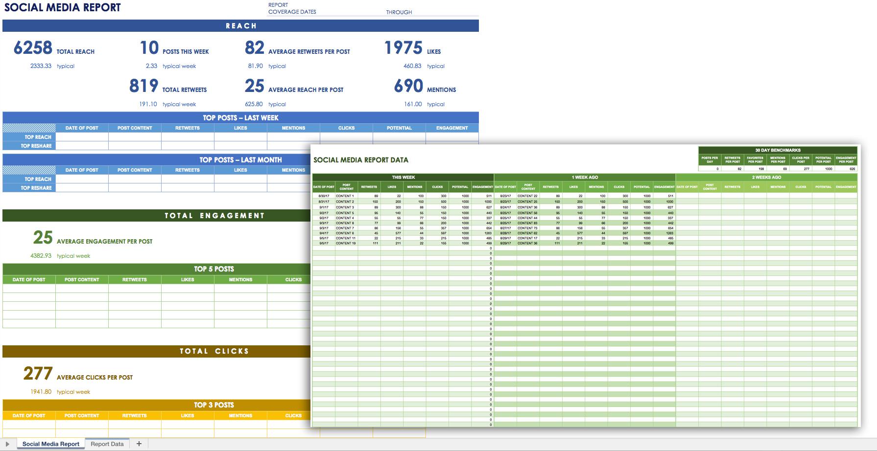 12 Free Social Media Templates   Smartsheet For Marketing Kpi Excel Template