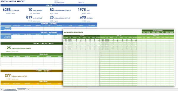 12 Free Social Media Templates Smartsheet Within Kpi Reporting And Kpi Report Template Excel