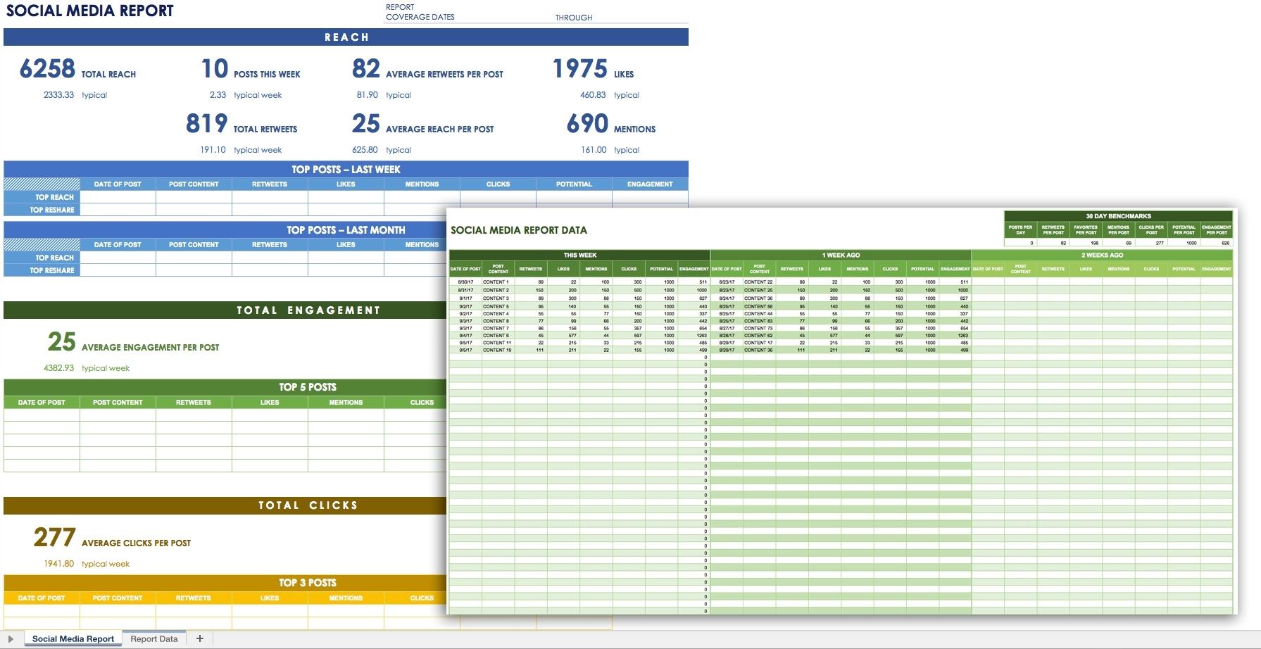 12 Free Social Media Templates Smartsheet Within Kpi Reporting In Kpi Reporting Templates Excel