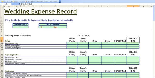 15 Useful Wedding Spreadsheets – Excel Spreadsheet And Sample Spreadsheet Budget