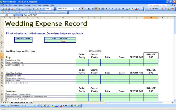 15 Useful Wedding Spreadsheets – Excel Spreadsheet And Sample Spreadsheet Budget