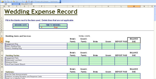 15 Useful Wedding Spreadsheets – Excel Spreadsheet In Sample Of Spreadsheet Of Expenses