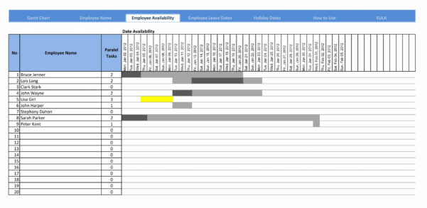 20  Awesome Simple Excel Gantt Chart Template Free   Lancerules Inside Excel Gantt Chart Template