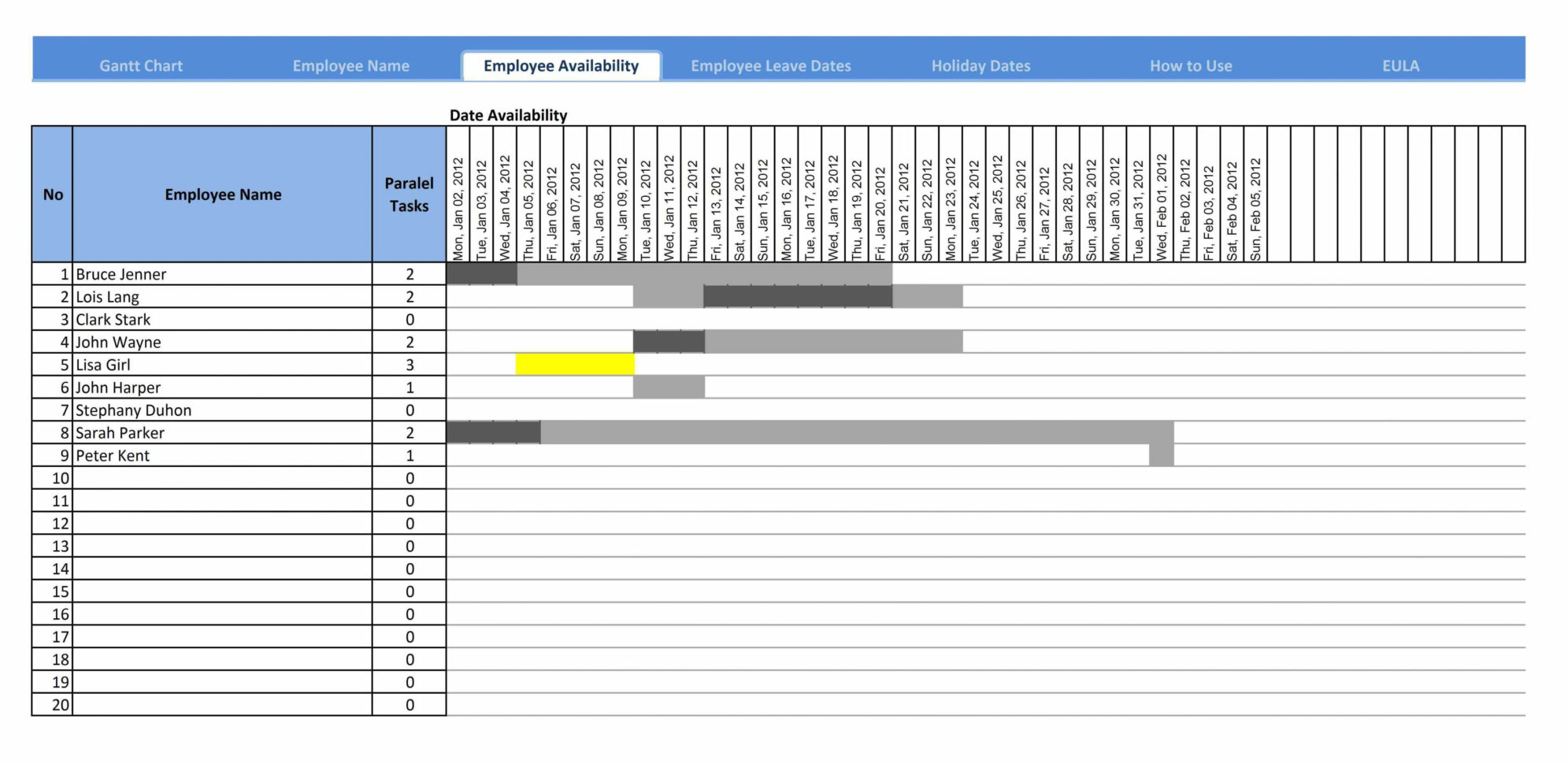 20  Awesome Simple Excel Gantt Chart Template Free   Lancerules Intended For Weekly Gantt Chart Template Free