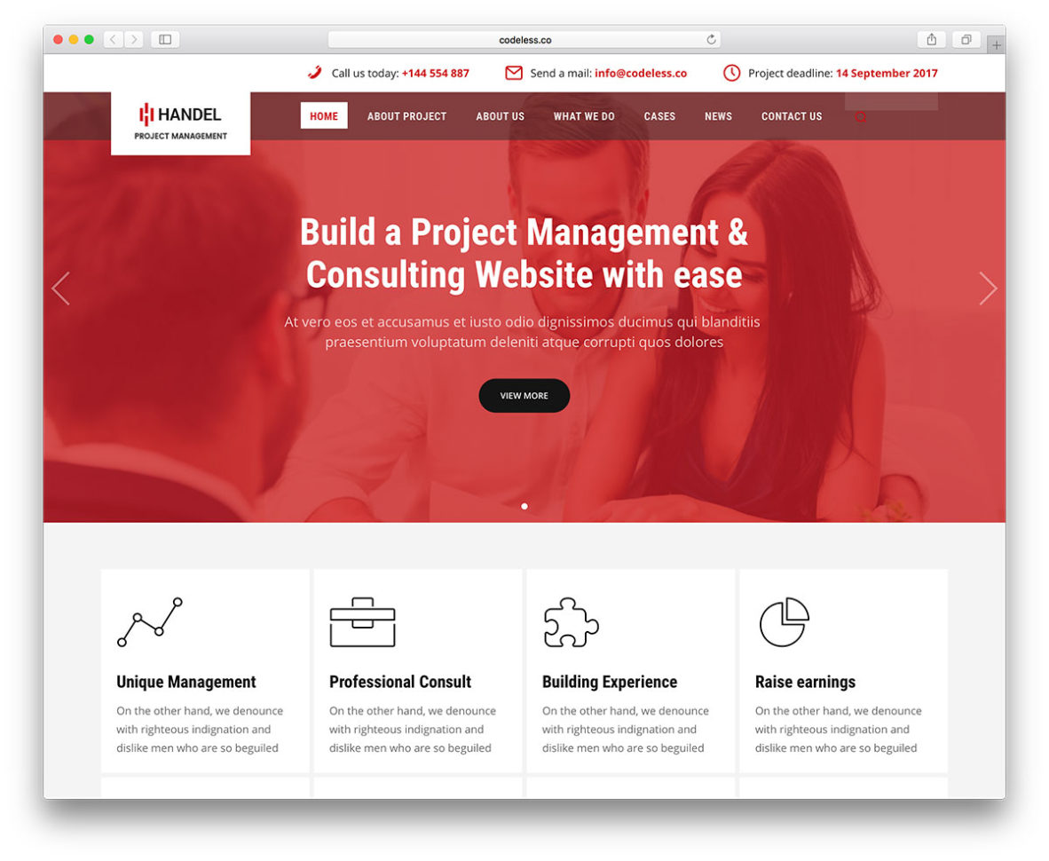 20 Best Business Consulting Wordpress Themes 2018   Colorlib Within Project Management Website Templates