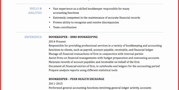 20 Entry Level Bookkeeper Resume Sample | Free Resume Templates For Bookkeeping Reports Samples