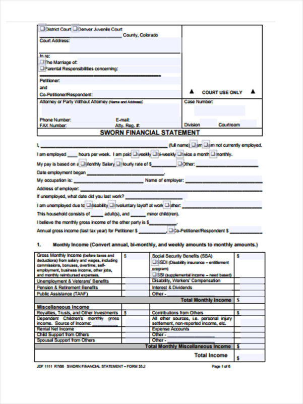 23 Sample Financial Statement Form Inside Monthly Income Statement