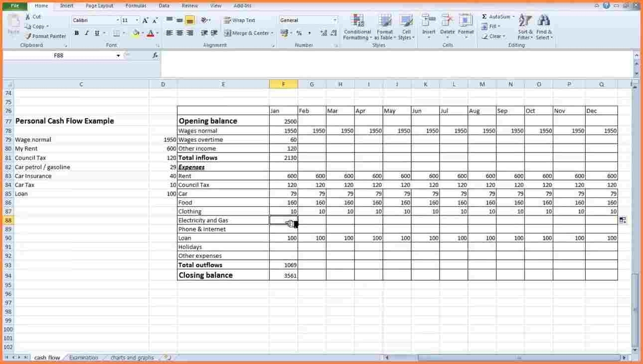 3 Personal Cash Flow Statement Template   Statement Synonym For With Personal Monthly Cash Flow Statement Template Excel
