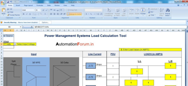 3 Phase Load Calculation Tool   Excel Sheet   Software And Tools And Excel Spreadsheet Formulas